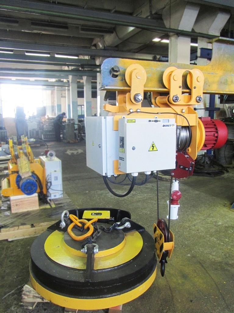 Таль г/п 3,2т, Н=9м ( кабельный барабан, грузоподъемный электромагнит ДМТ 120/А-У1 и система управления для работы электромагнита)